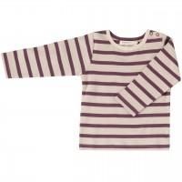 Shirt Langarm aubergine-creme gestreift