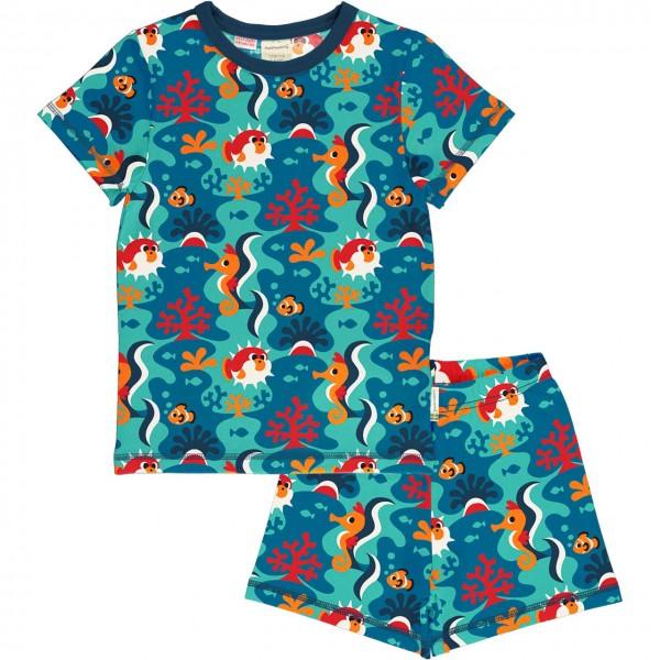 Sommer Schlafanzug Korallenriff blau