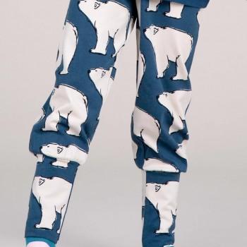 Krabbel- und Spielhose Polarbären Bündchen dunkelblau