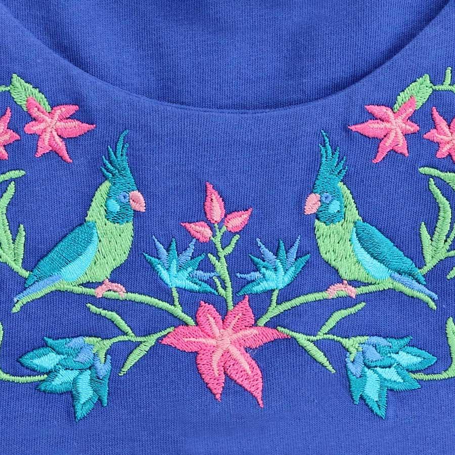 Enfant Terrible Kleid Stickerei Blumen navy