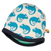 Vorschau: Wendemütze von Loud and Proud grün mit blauen Geckos