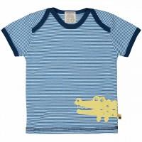 Leichtes Ringel Kurzarm Shirt blau Tiermotiv