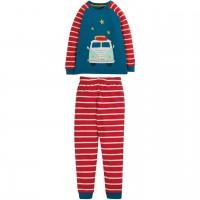 Schlafanzug mit Fahrzeug Streife rot