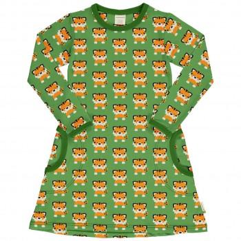 Leichtes Kleid Tiger Grüntöne langarm