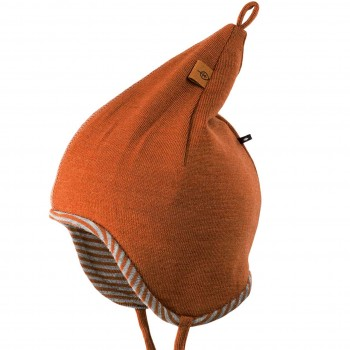 Wolle Seide Zipfelmütze doppellagig Karamell-braun