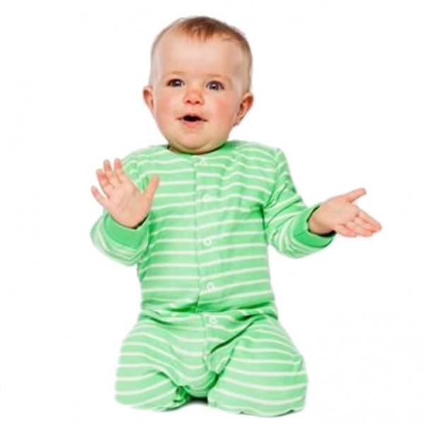Warmer Schlafanzug Strampler aus Frottee mit Füßen grün
