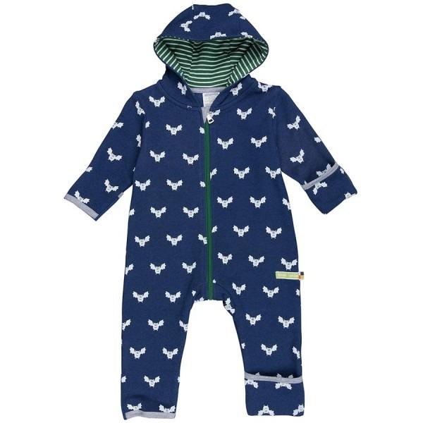Bio Babyoverall Wolle Fledermaus marine