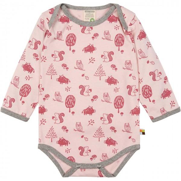 Body langarm Waldtiere rosa