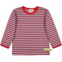 Weiches Shirt langarm Ringel in rot/türkis