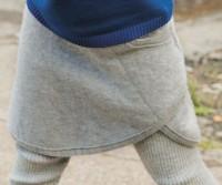 Rock Wolle mit breitem Strickbund grau