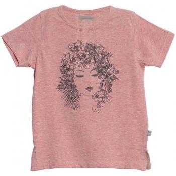 Leichtes Mädchen Shirt Print altrosa meliert