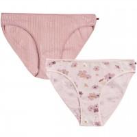 Doppelpack Damenslips rosé uni+Anemonen