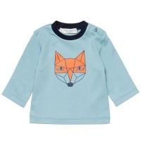 Fuchs Print Shirt griffig weich Druckknöpfe hellblau
