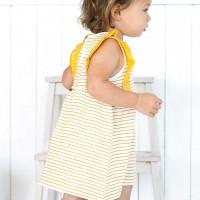 Baby Kleid Sommer ohne Arm senfgelb geringelt
