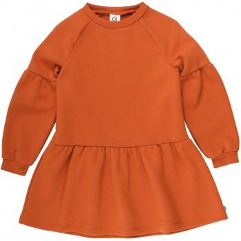 Edles Sweatkleid mit Puffärmeln rost-orange