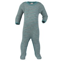 Wolle Seide Strampler grau blau mit Fuss