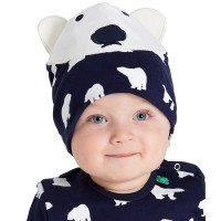 Kindermütze elastisch Übergangszeit Eisbär