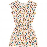 Leichtes Sommer Kleid Papageien weiß