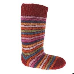 Lange Vollplüsch Socken Wolle warm dick rot