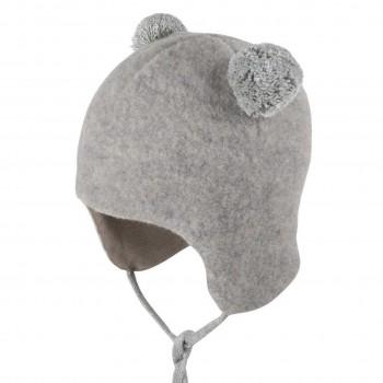 Graue Bommel Wintermütze Fleece Baumwolle