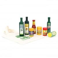 Vorschau: 9 Holzverpackungen für Kaufladen Bio Produkte + Tasche
