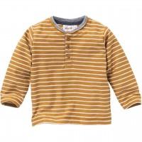 Henley Shirt langarm gestreift braun