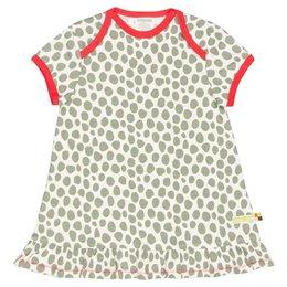 Kurzarm Kleid Punkte oliv-grün