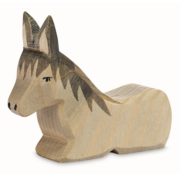 Esel liegend Krippenfigur Holzfigur 8 cm hoch