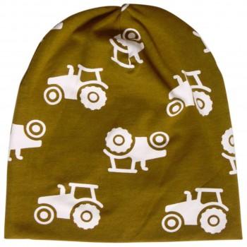 Traktor Beanie in oliv-grün