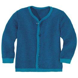 Leichte warme Strickjacke Wolle atmungsaktive blau