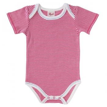 Streifen Body kurzarm pink