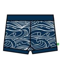 Kurze Jungen Badehose Wellen navy