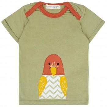 Babyshirt kurzarm oliv-grün Aufnäher