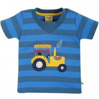T-Shirt Traktor Aufnäher blau