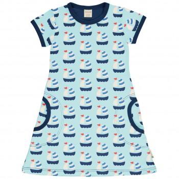 Kleid Segelboote hellblau kurzarm