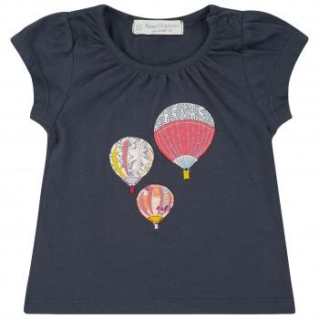 T-Shirt Jersey navy Ballon Aufnäher
