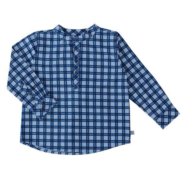 Blaues langarm karo Hemd