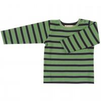 Shirt Langarm grün-navy gestreift