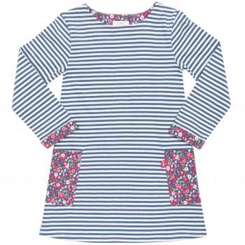 Ringel Kleid mit Taschen blau-weiß