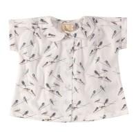 Mädchen Hemd Vögelchen zum Knöpfen