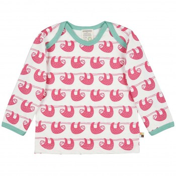 Leichtes Shirt langarm Faultiere in pink/hell
