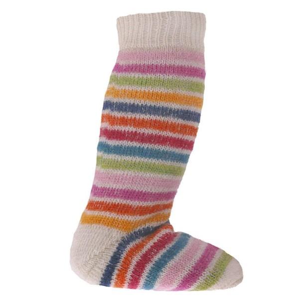 Lange Vollplüsch Socken Wolle warm dick natur