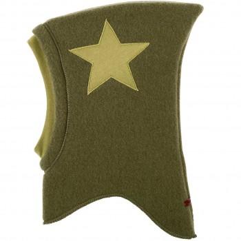 Woll Schlüpfmütze Sternen-Aufnäher moos-grün