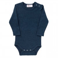 Wolle Seide Body langarm in navy