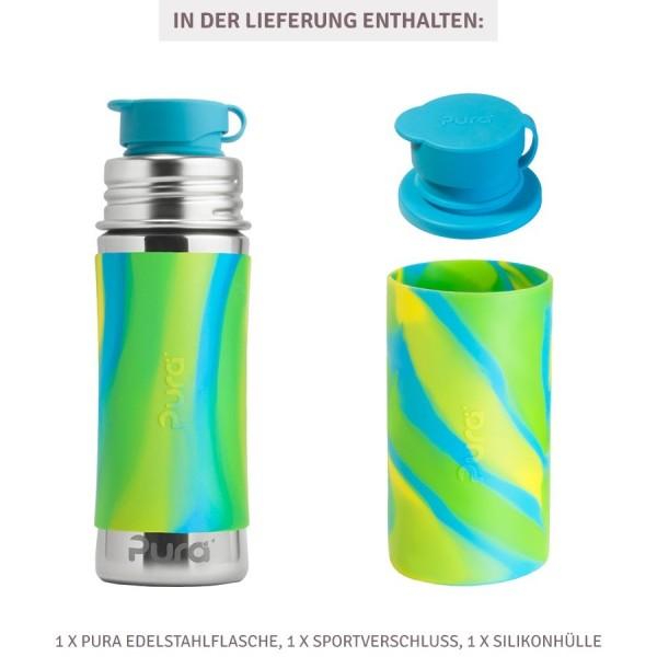 Thermo Sportflasche Flasche 260 ml ab 2 - open end blau swirl