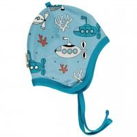 Babymütze leicht mit Ohrenschutz U-Boote in hellblau