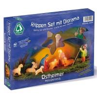 Krippenfiguren Set mit Diorama