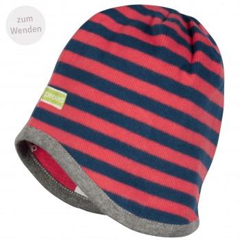 Mütze zum Wenden Ringel in melone/dunkelblau