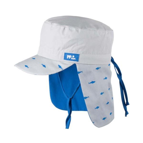 Sommermütze Nackenschutz Poplin Haie