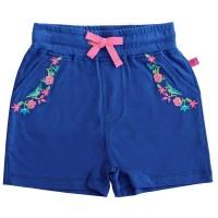 Mädchen Shorts Blumen-Stickerei navy